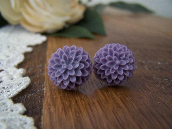Purple Pom Stud Earrings