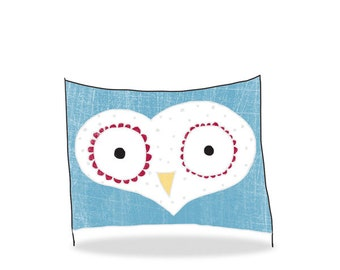 DIGITAL owl art-postcard sized instant download from original illustration-nautical love owl-print your own