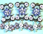 Six 2 Hole Slider Beads Fancy Purple, White Victorian Flowers Clear & Rainbow AB Swarovski Crystal