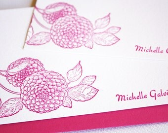 Personalized Letterpress Stationery Dahlias Pink Fuchsia