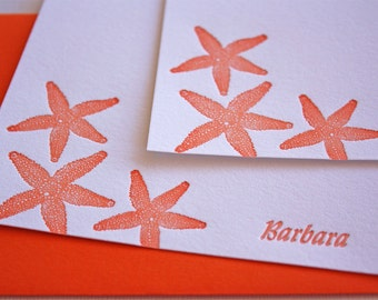 Personalized Letterpress Stationery Starfish Orange