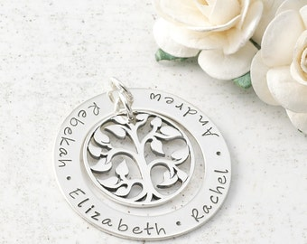 """Add a Charm - 1.25"""" sterling silver washer with tree charm - Your own words or names"""