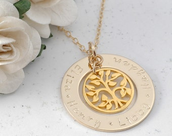 Personalized Necklace Washer Style Gold-Filled Family Name Open Circle with Tree of Life Charm