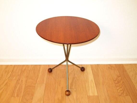 RESERVED:  Albert Larsson Danish Modern Side Table - Tripod Teak Table - Alberts Tibro, Sweden