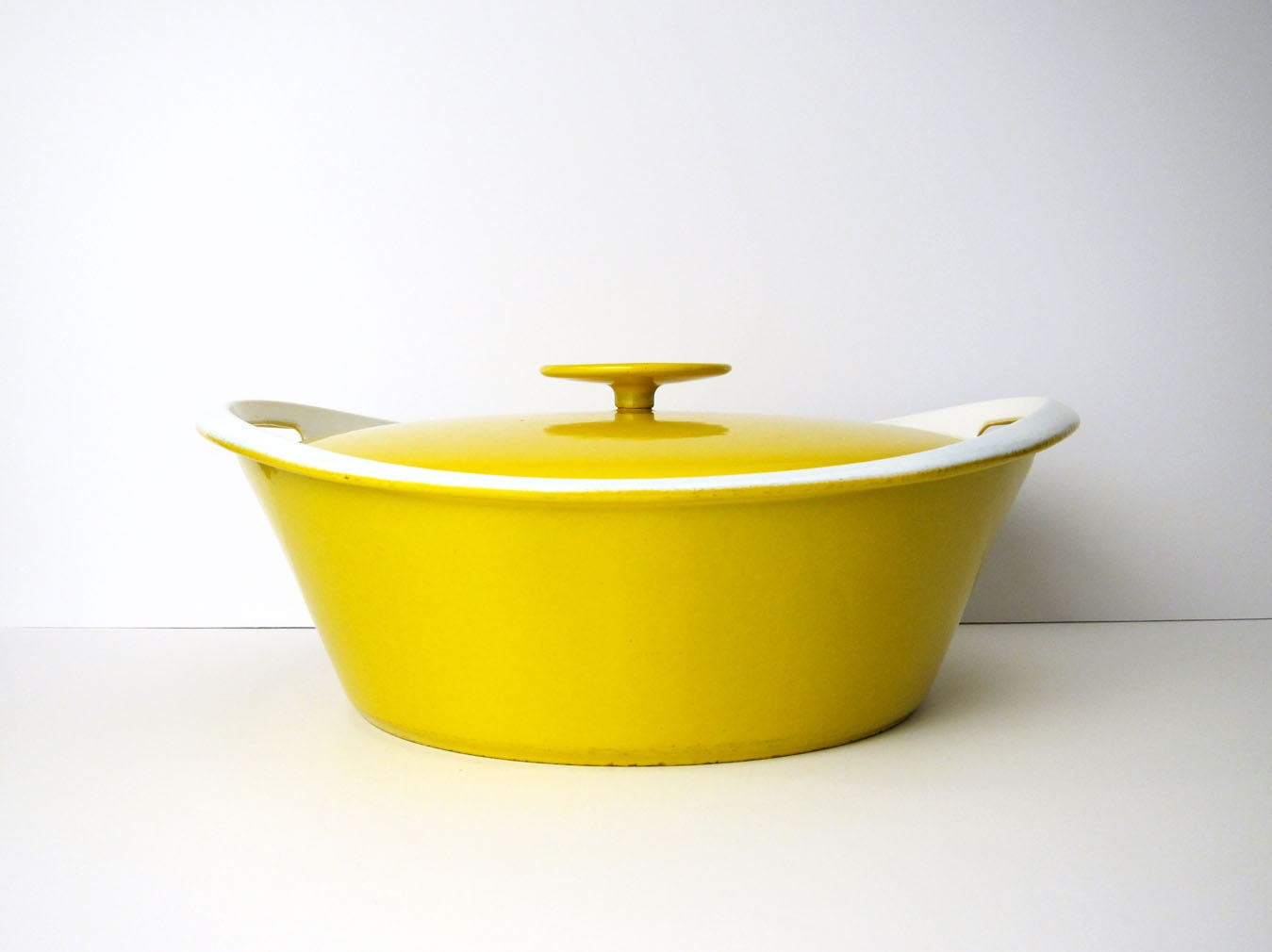 X Large Copco Cast Iron Pot 4 Qt In Yellow Mid Century
