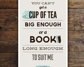 Art Print | Book and Tea Lover | CS Lewis Quote | Teacup | Book Lover Gift