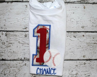 Baseball Birthday Shirt or Bodysuit with Name Personalized