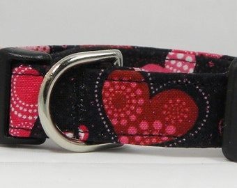 Dog Collar Hearts Patterns Prints Strips Circles on Black Any Day or Valentines Day Adjustable Dogs Collars  D Ring Choose Size Accessories