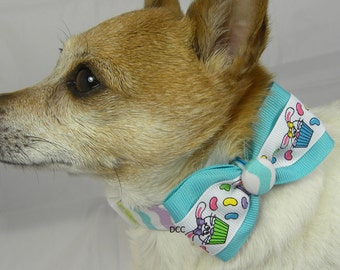 Dog Collar Easter Cupcake Fun Jelly Beans Bunnies Bunny w Ribbon Rabbit Bow Tie Choose Size Adjustable Dog Collar with D Ring