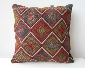 Handwoven Kurdish Rug Pillow Cover, Decorative Pillows, Accent Pillow, Throw Pillow, Kilim Pillow Cover, Vintage Pillow, Lumbar Pillow