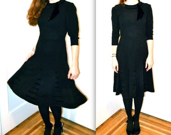 1940s Vintage Black Dress Size Small By Encore Original // Vintage 40s Black Party Dress Size Small Encore