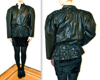 80s Vintage Black Leather Jacket with Peplum and Beading// Vintage Black Leather Jacket