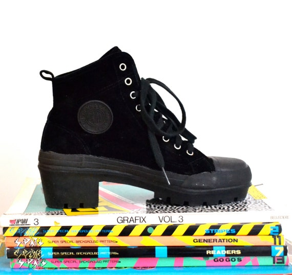 90s Black Chunky Hightop Sneakers size 7 by DKNY// 90s Velvet Black Platform Boots size 7 7 1/2