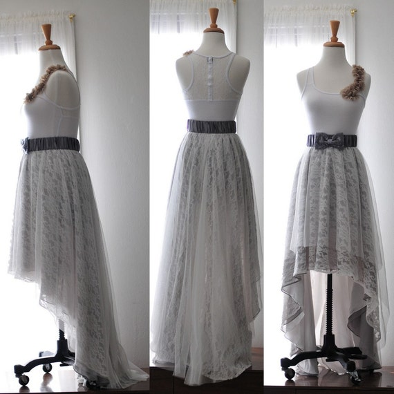 Gorgeous High-and-Low Hem English tulle and French Lace Skirt made for your special day-Ready to wear in size XS