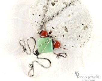 925 Sterling Silver Tree Frog Pin Brooch Pendant Green Chrysoprase Red Carnelian