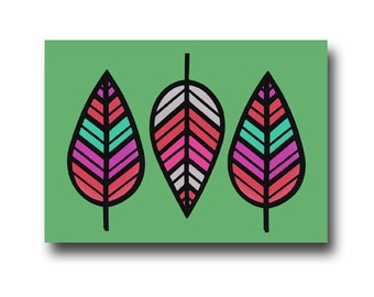 Chevron Leaf - Blank Note Card & Envelope