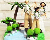 Outdoor garden theme custom wedding cake topper decoration keepsake