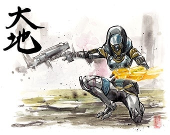8x10 PRINT Mass Effect Tali Japanese Calligraphy Daichi great earth