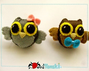 Brooch Owl Felt Kawaii