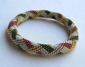 Bead Crochet Pattern:  Basket Weave Bead Crochet Bangle Pattern