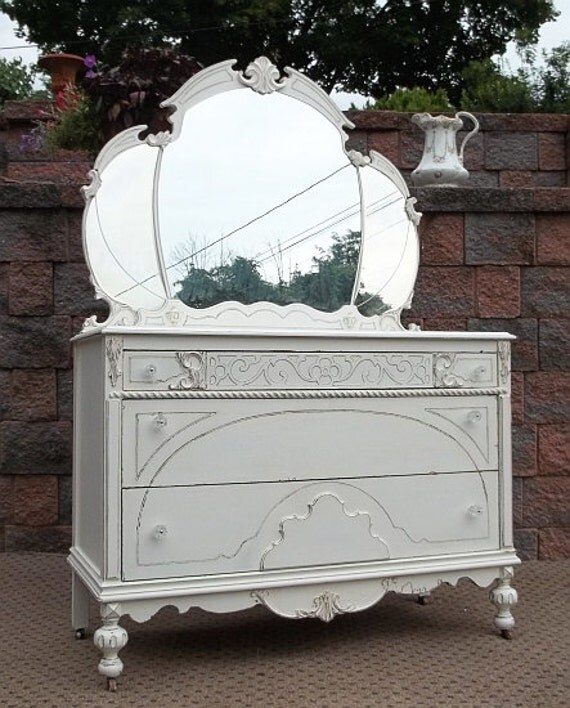 Items similar to chic cottage white shabby dresser w tiara - Shabby chic bedroom sets for sale ...