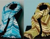 SCARF WITH FRINGE- Chevron- polar fleece winter scarf