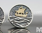 Sterling Silver & Gold Phoenician Ship Cufflinks