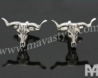 Sterling Silver Spanish Bull Skull Cufflinks