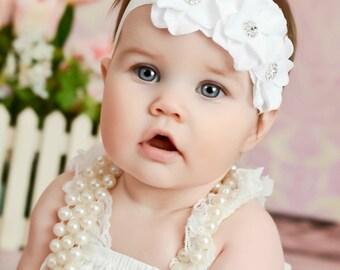 White baby headband, flower headband, baby Headbands,Baptism Headband, Christening headband,Flower Headband, Baby Headband,Baby Bows