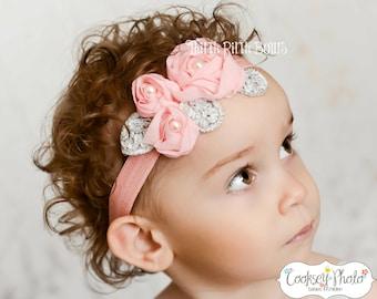 coral headband, baby headband, flower headband, headband, shabby chic roses headband