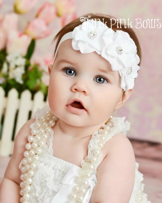 Bebé diadema bebé blanco, diadema de flores, diademas, bautismo venda, venda de