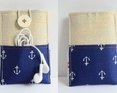 iphone pouch - fabric, canvas, linen wallet, anchor on navy - 2 extra pockets