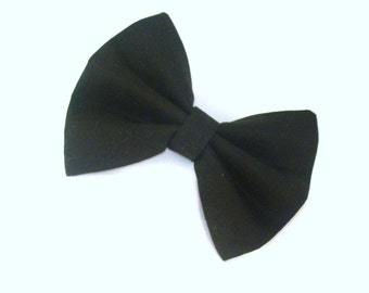 Hair Bow Vintage Inspired Black with Aligator Clip Rockabilly Pin up Teen Woman