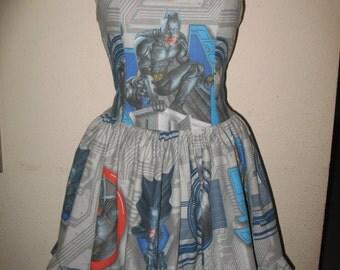Custom Made to Order Batman Masked Super Hero Dark Knight SweetHeart Ruffled Halter Mini Dress