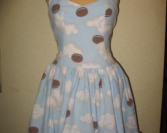 Custom Made to Order heavely Oreo Cookie Pin Up SweetHeart Ruffled Halter Mini Dress
