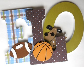 Wooden Letters for Nursery Wall - Bow Wow Sports Theme - Puppy Dog Nursery - Baby Boy Bedroom