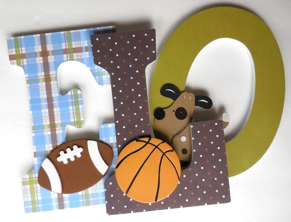 Wooden Letters For Nursery Wall Bow Wow Sports Theme Puppy