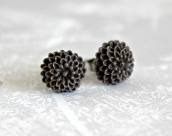 Tiny Mum Earrings, Dark Taupe Handmade Resin Cabochons on Hypoallergenic Titanium Posts/Studs