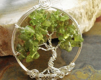 Peridot Tree of Life Pendant with Sterling Silver Chain -Wire Wrapped Peridot Gemstone Necklace- August Birthstone