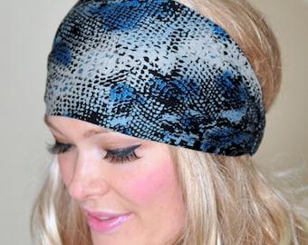 Headband Snakeskin Print Stretch Wide Hair Wrap Headband  Snake Animal Print Beach Headcover Yoga Bandana Stretch Elastic Gift under 25
