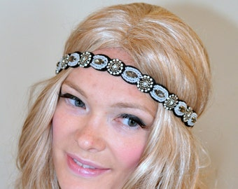 1920's Great Gatsby Lace Headband Gold Rhinestone Black Women headband Headwrap Stretch Headcovering Vintage Headband