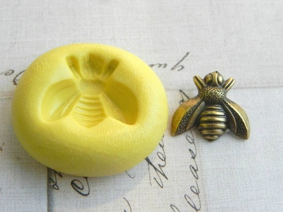 BUMBLE BEE - Flexible Silicone Mold - Push Mold, Jewelry Mold, Polymer Clay Mold, Resin Mold, Craft Mold, Food Mold, PMC Mold
