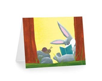 Bunny Greeting Card - Rabbit Stationery - Bunny Note Card - Woodland Stationery