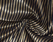 Black and Gold stripes on hand-loom cotton silk  one yard