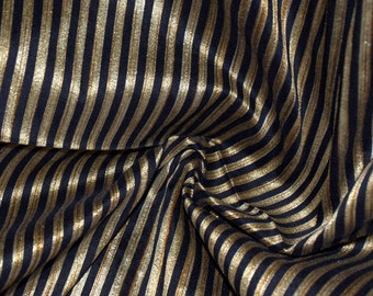 Black and Gold stripes on hand-loom cotton silk 2 bits of 26 and 13 inches width 42 inch