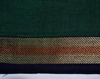 Handloom cotton fabric in Dark green - One yard Yard  VMC 14