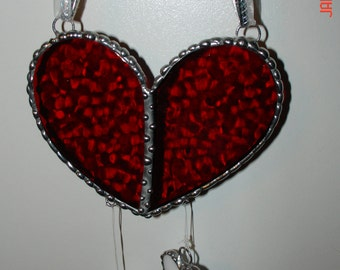 Stained Glass Heart Suncatcher  in Cherry Red Bubble Textured Glass with 4 dangling white hearts
