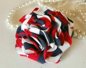 Red White and Blue Carnation Flower Pin - Recycled Tshirt