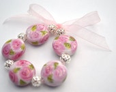 Lampwork Beads - Pink Cabbage Roses On Pastille