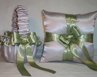 Silver Satin With Sage Green Ribbon Trim Flower Girl Basket And Ring Bearer Pillow
